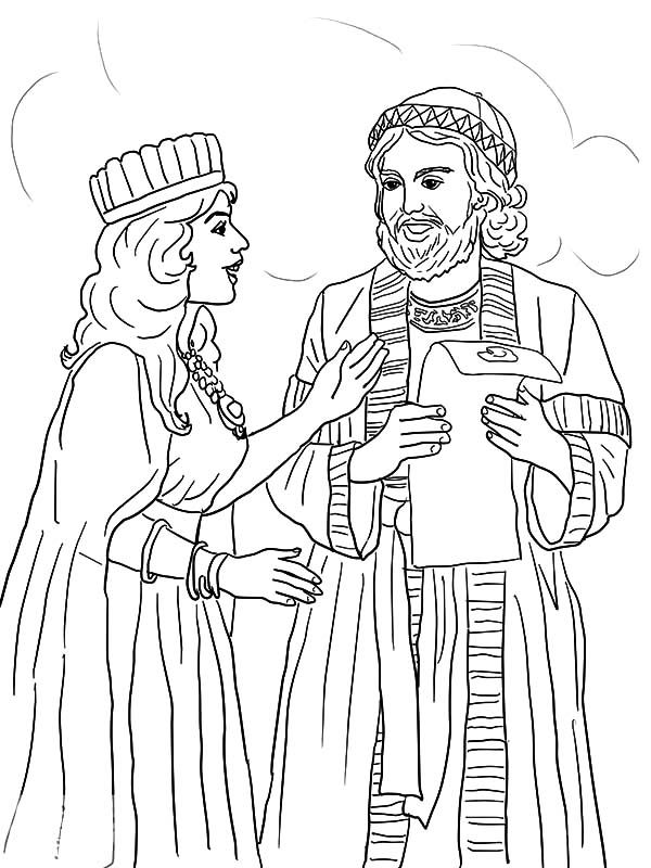 Queen Esther and Mordecai with Kings Edict Coloring Pages ...