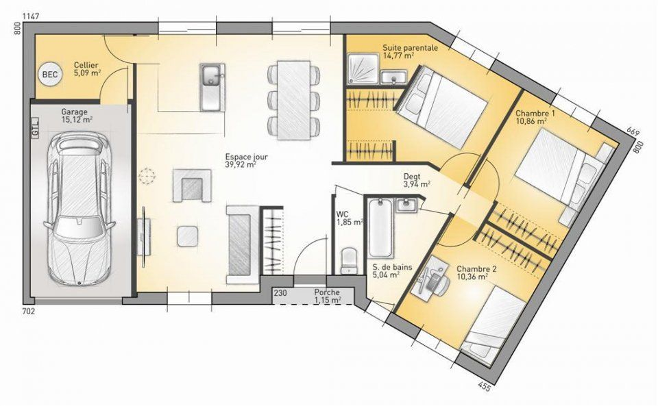 Plan maison neuve construire maisons france confort for Construire maison 91