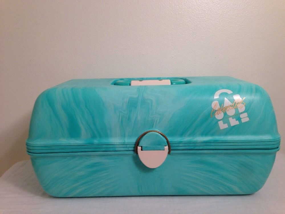 Caboodles Train Case #2630 Vtg Large Make Up Case Craft Organizer Aqua Mirror in Health & Beauty, Makeup, Makeup Bags & Cases | eBay