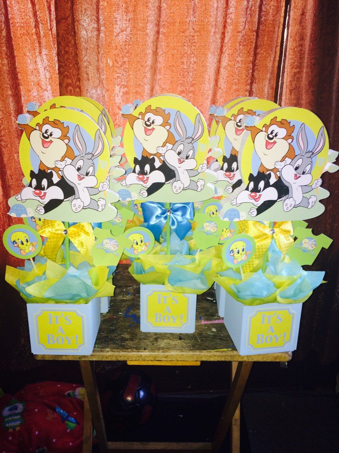 6 Baby Looney Tunes Baby Shower Centerpieces By TinksMagicalDeco