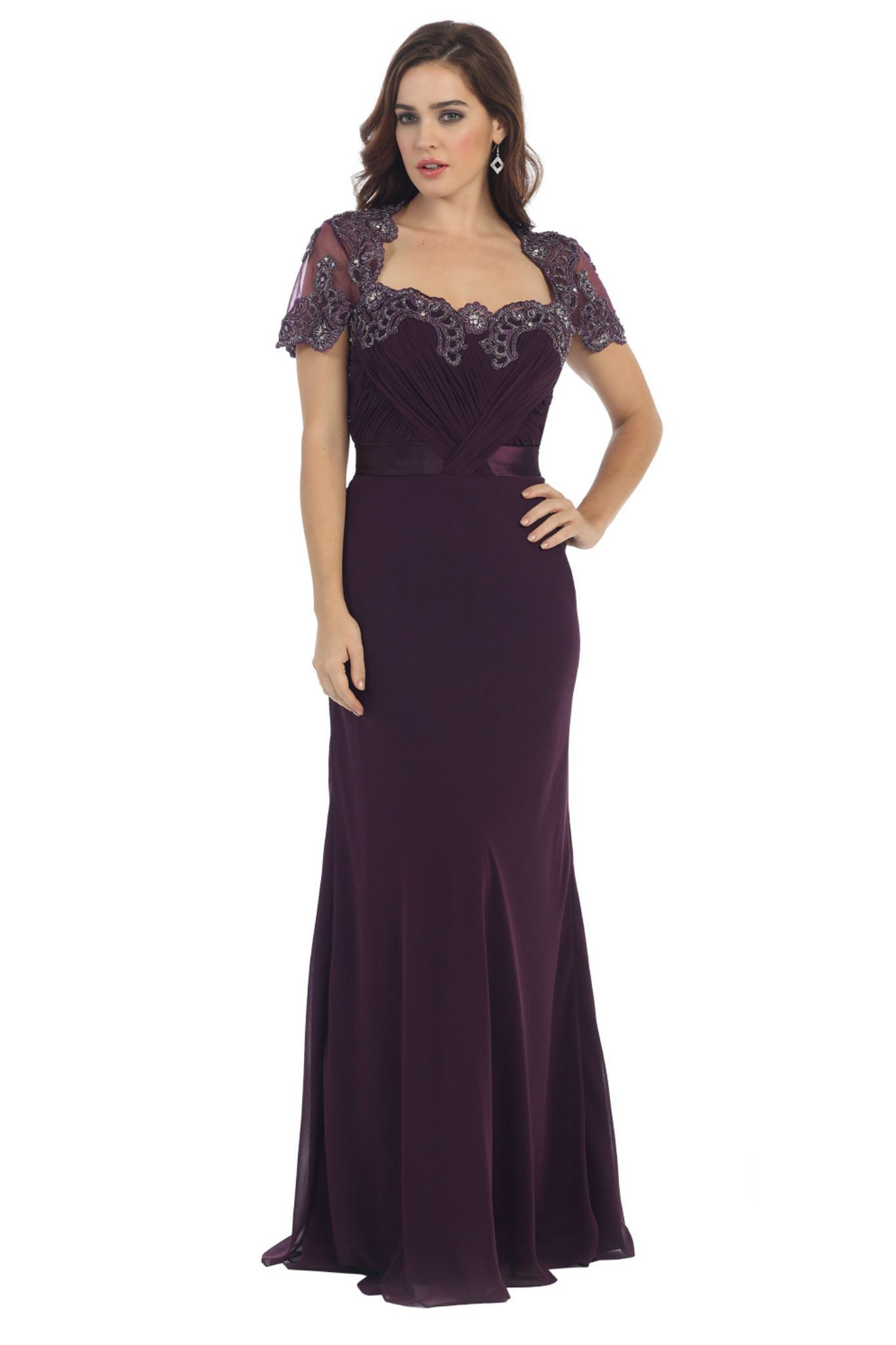 Mother dresses wedding plus size  Plus Size Short Sleeve Chiffon Mother of the Bride Formal Evening