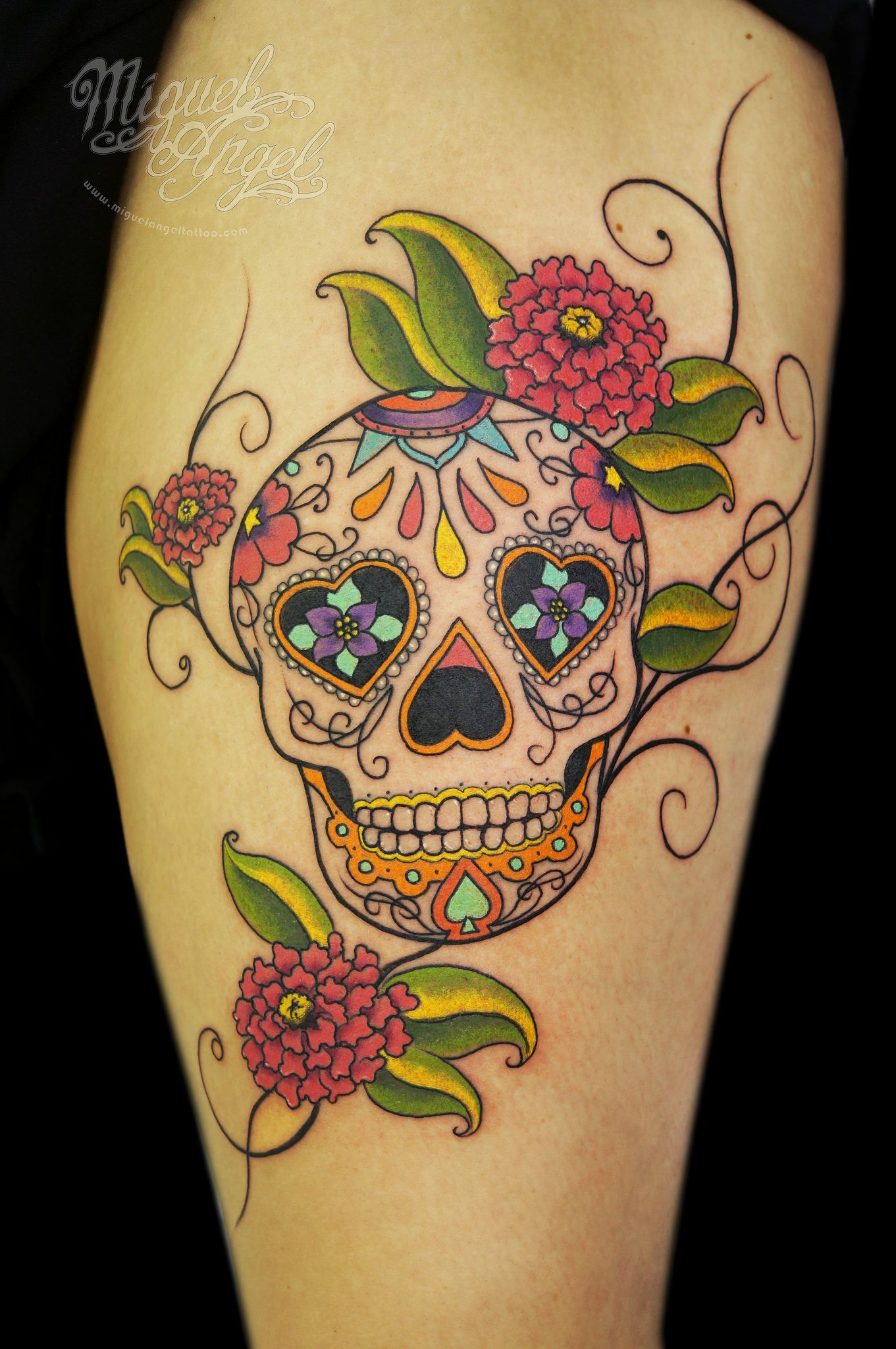 Calavera Tattoo Flash sugar skull and cempasúchil flower custom tattoo | sugar