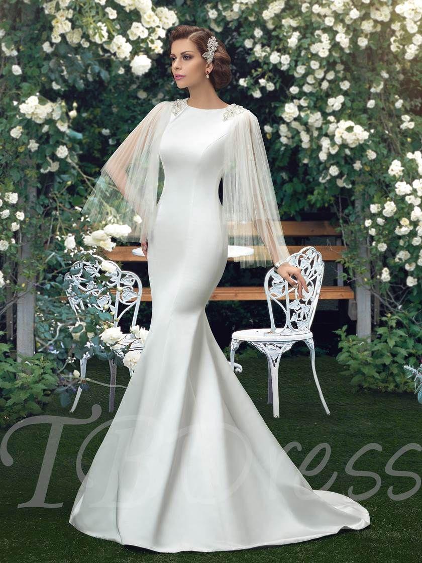 Straps ribbons mermaid wedding dress vestido de noiva pinterest