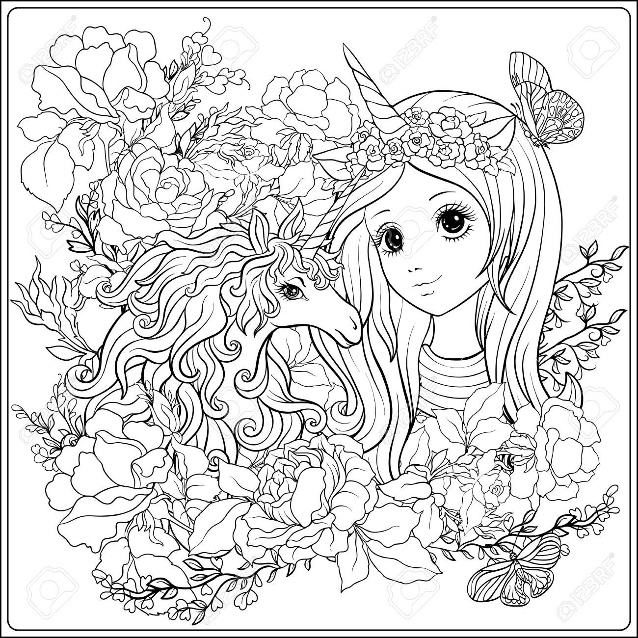 Coloring Unicorn Girl Coloring pages, Adult coloring