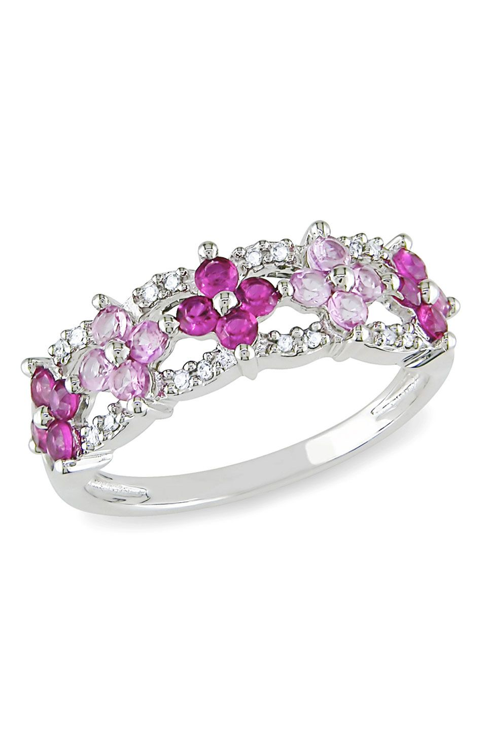 Pink Flowers Ring with Diamonds