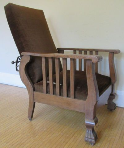 Early 1900's Morris Chair – Antique Lounge Chair – Claw Feet | chairs,  recliners | - Early 1900's Morris Chair – Antique Lounge Chair – Claw Feet