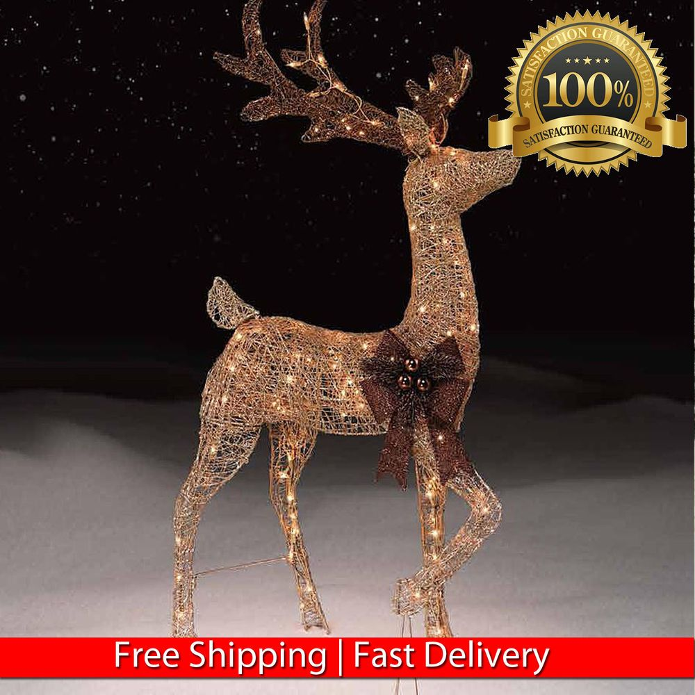 Lighted christmas pig outdoor decoration - 48 Gold Pre Lit Reindeer Outdoor Xmas Decoration Deer W 150 Lights Stag
