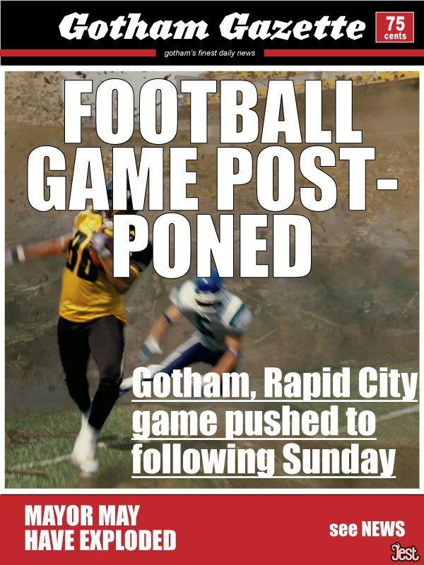 Gotham Newspaper Headlines During The Dark Knight Rises - Football Game Postponed