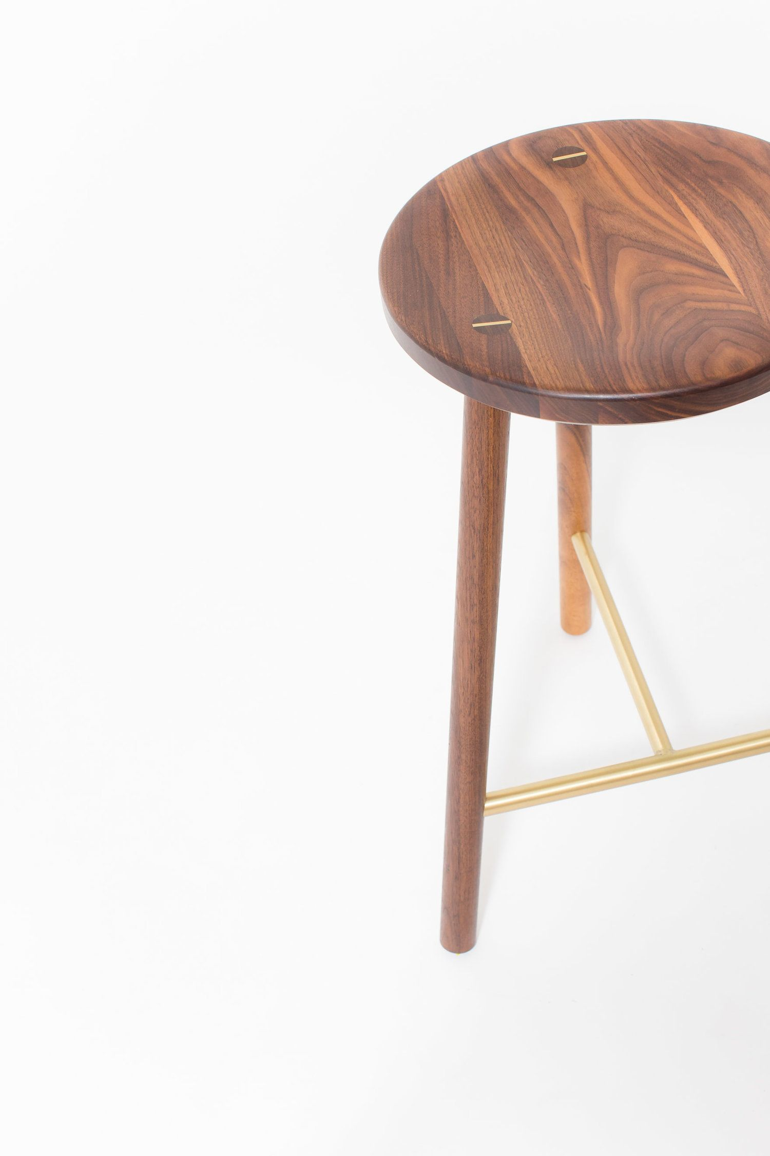 """Scout"" Stool In Walnut And Satin Brushed Brass By Steven"