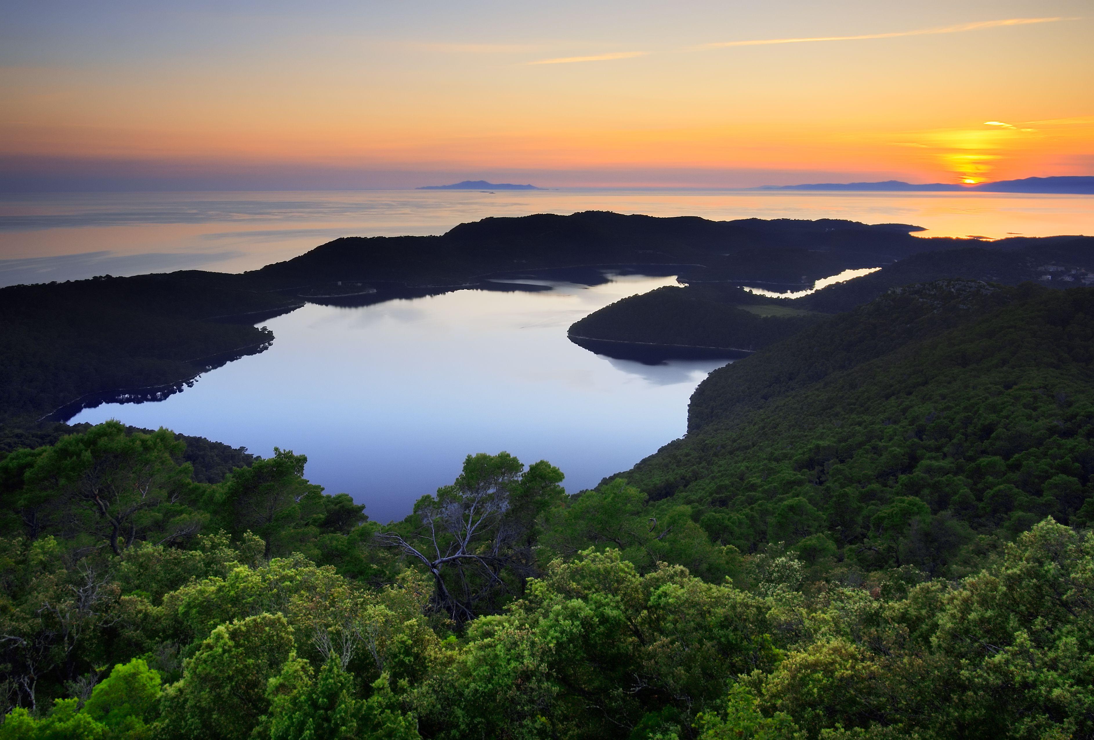 Sunset Over The Lakes On The Island Of Mljet Croatia Croatia National Park Croatian Islands Croatia
