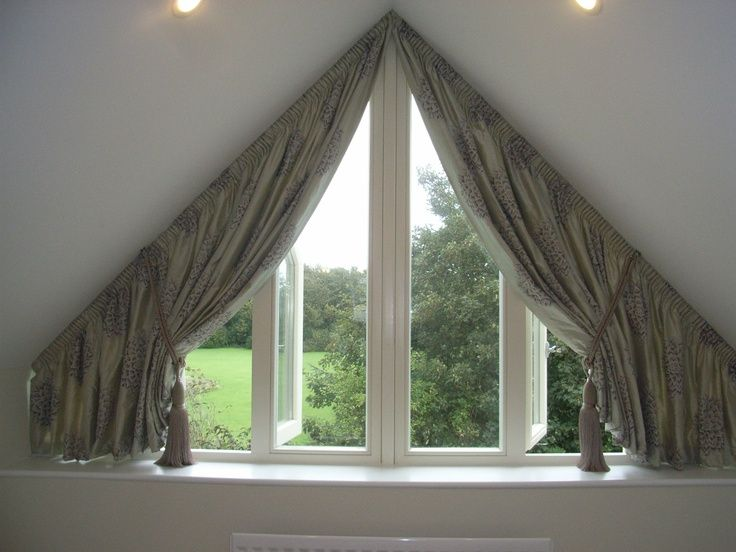 Creative ideas to cover my trapezoid window. | Window coverings ...