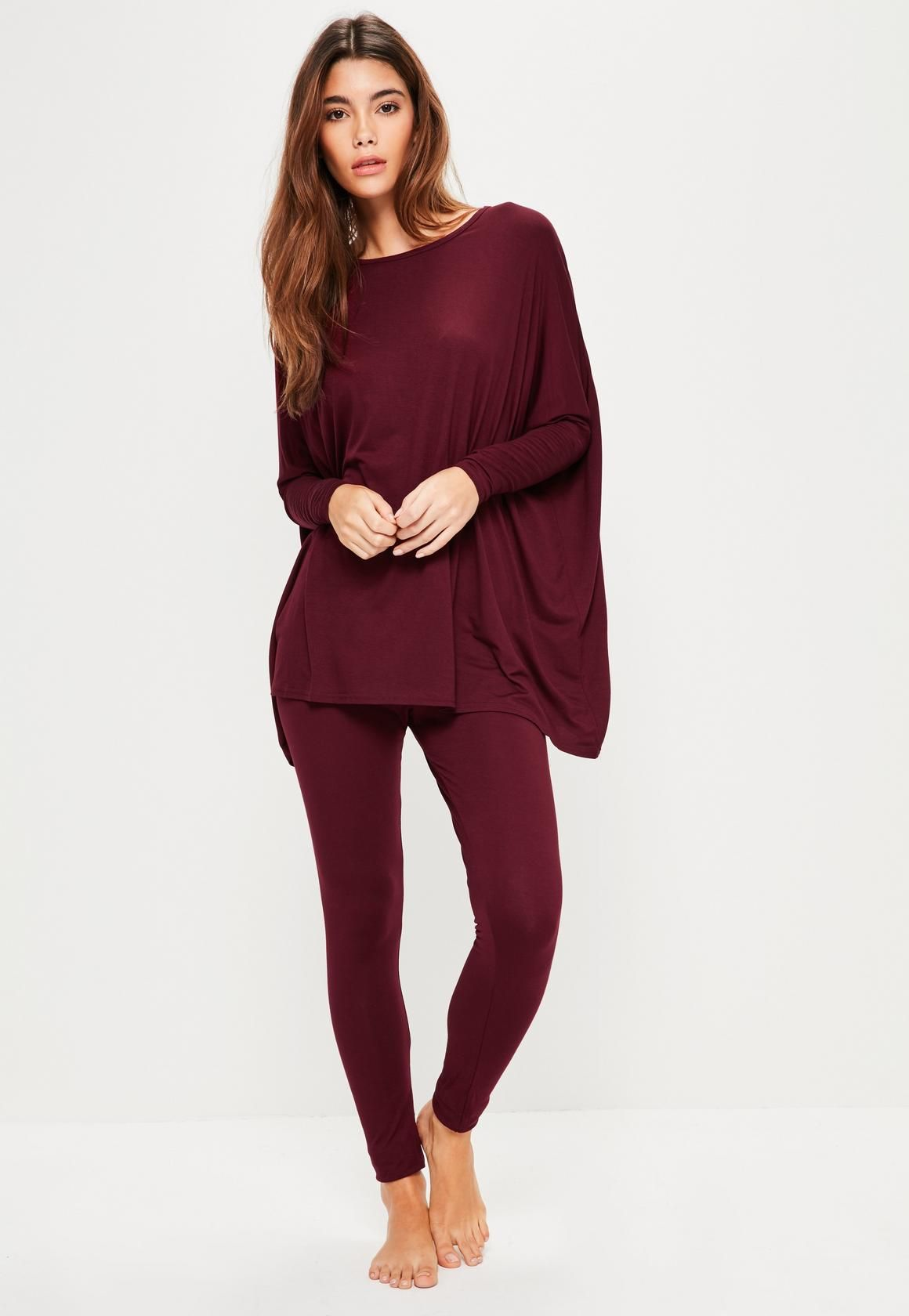 Missguided - Burgundy Oversized Jersey Loungewear Set