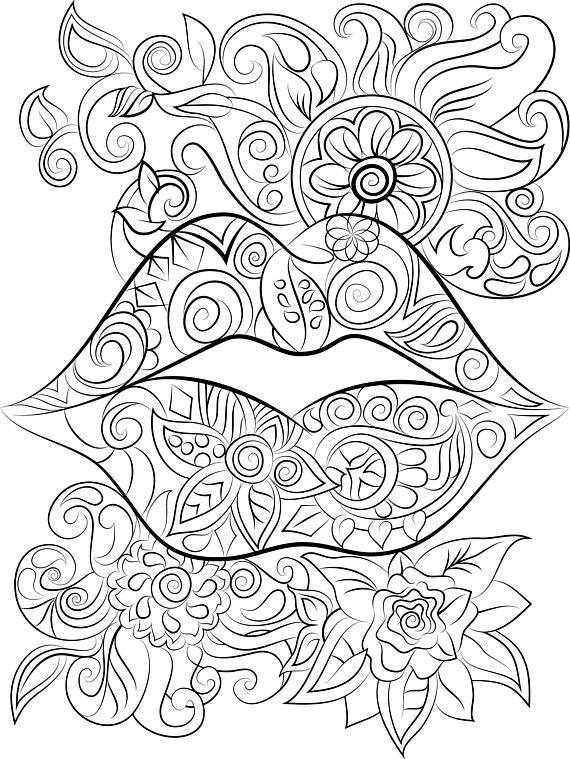Lips And Flowers Colouring Page Instant Digital Download Malar
