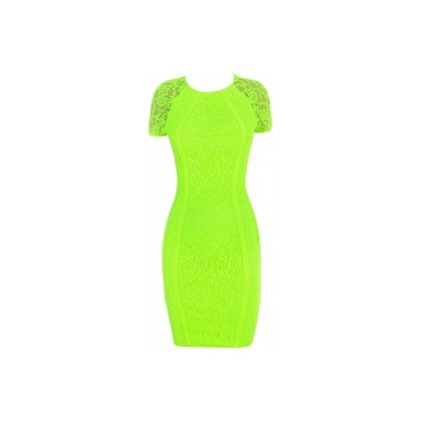 'ALICE' NEON GREEN LACE BACKLESS DRESS ($130) ❤ liked on Polyvore featuring dresses, green lace dress, high neck bodycon dress, neon green dress, open back cocktail dress and green dress