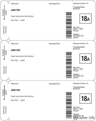 easy faux boarding pass template great gift idea tr s belle classroom pinterest. Black Bedroom Furniture Sets. Home Design Ideas