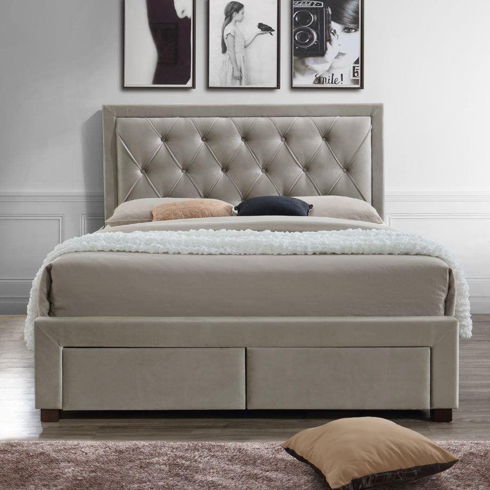 Woodbury Warm Stone Velvet Fabric 4 Drawer Storage Bed