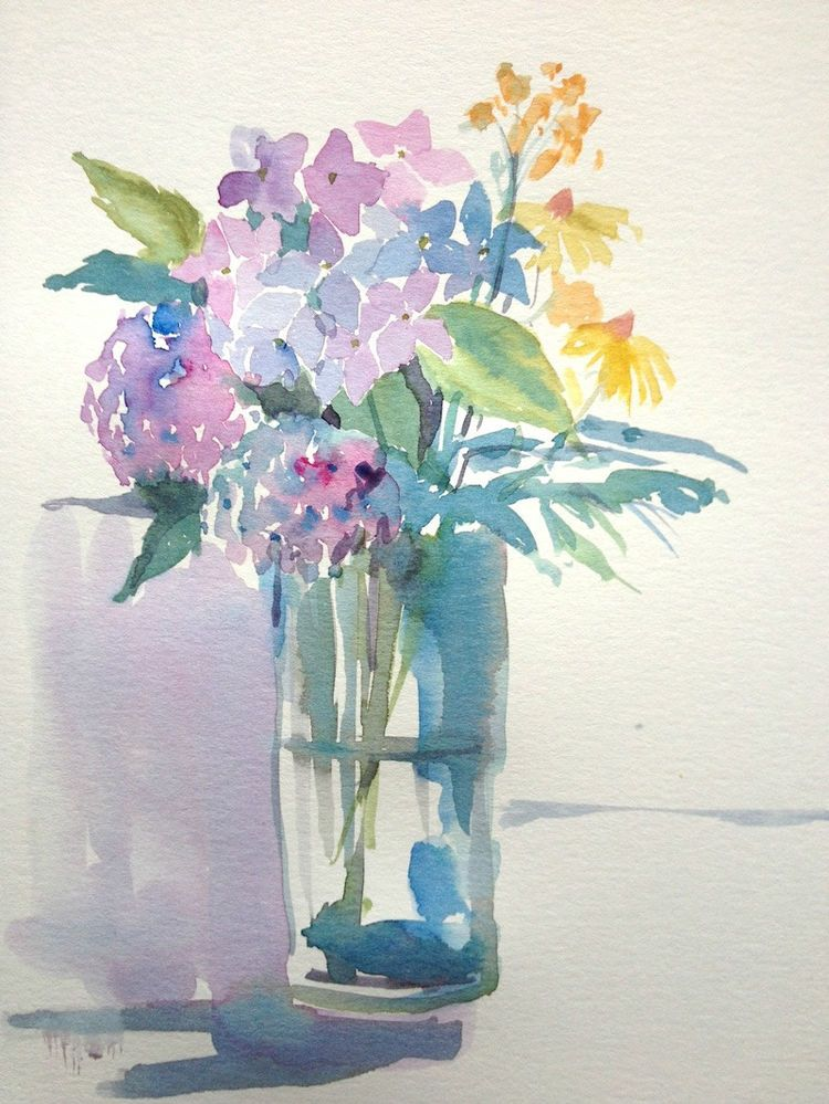 Original Watercolour Painting Flowers In A Glass Vase Signed