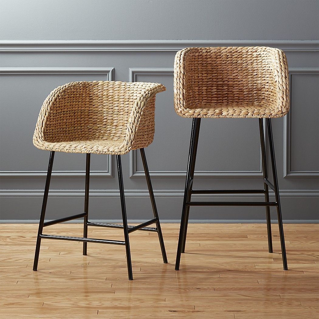 Shop Silas Seagrass Bar Stools. Natural seagrass forms solid bucket ...