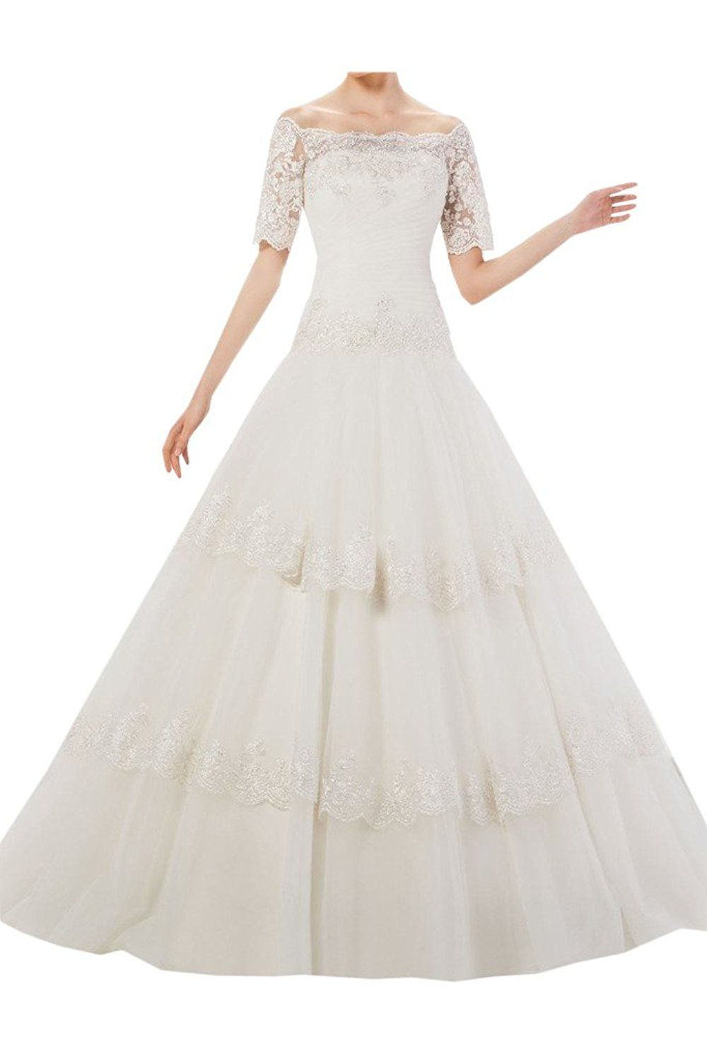 Ivydressing ball gown short sleeves lace wedding dress bridal gowns