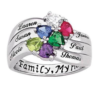 Sterling Silver Heart And Name Family Birthstone Ring 2 6