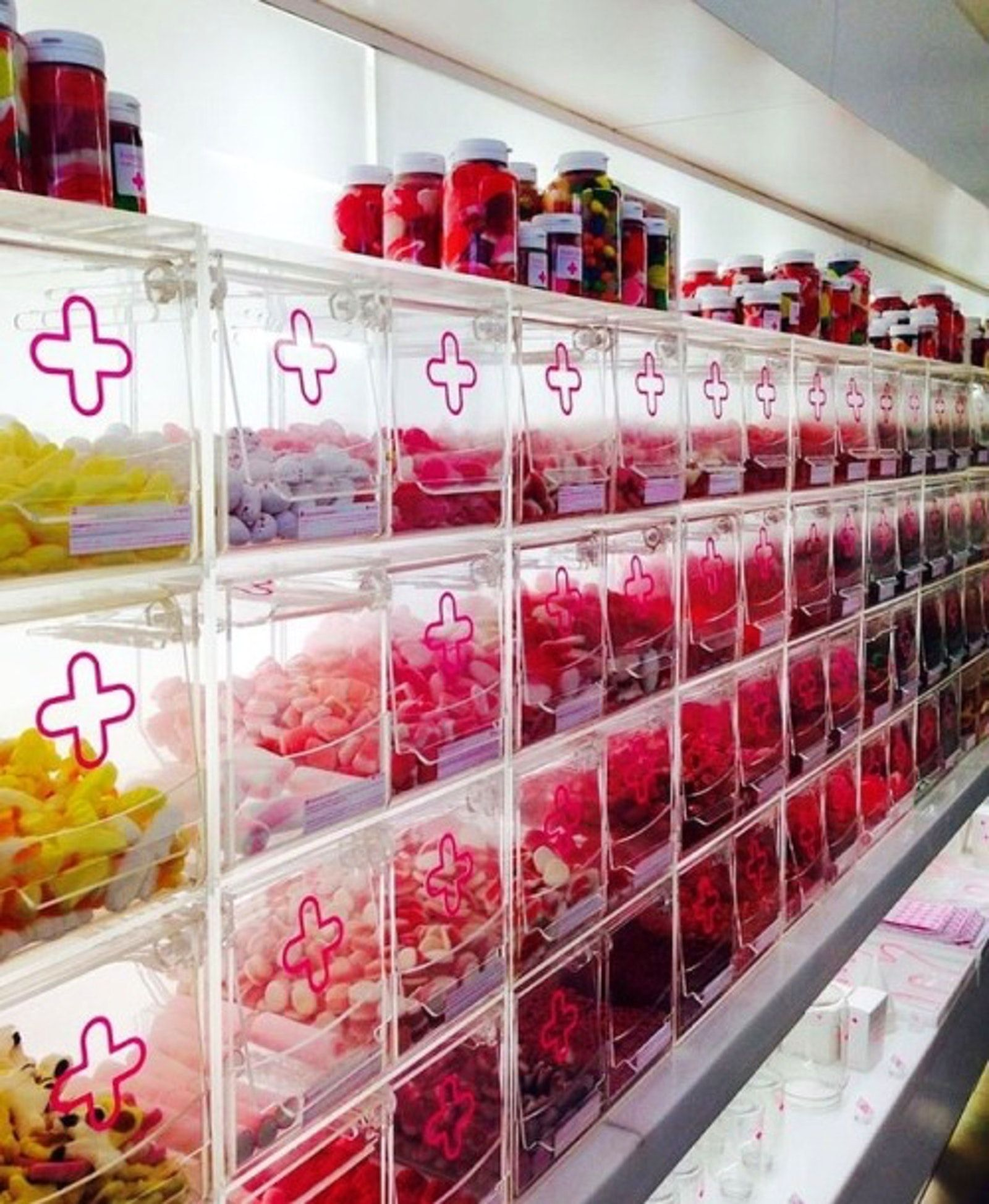 A Candy Store Shaped Like A Pharmacy In Barcelona Candy Store Candy Store Design Candy Shop