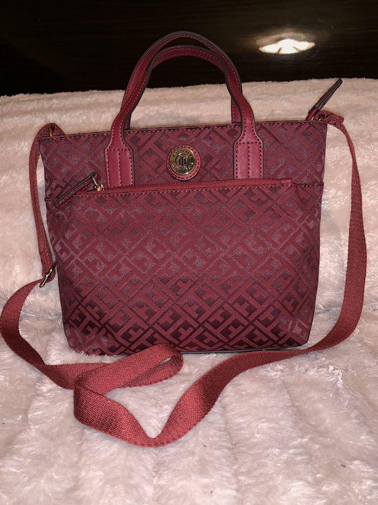 23f1baf5609f22 NWT Tommy Hilfiger Cross body Purse. Red/Jacquard Shoulder Bag Zip Close  #fashion