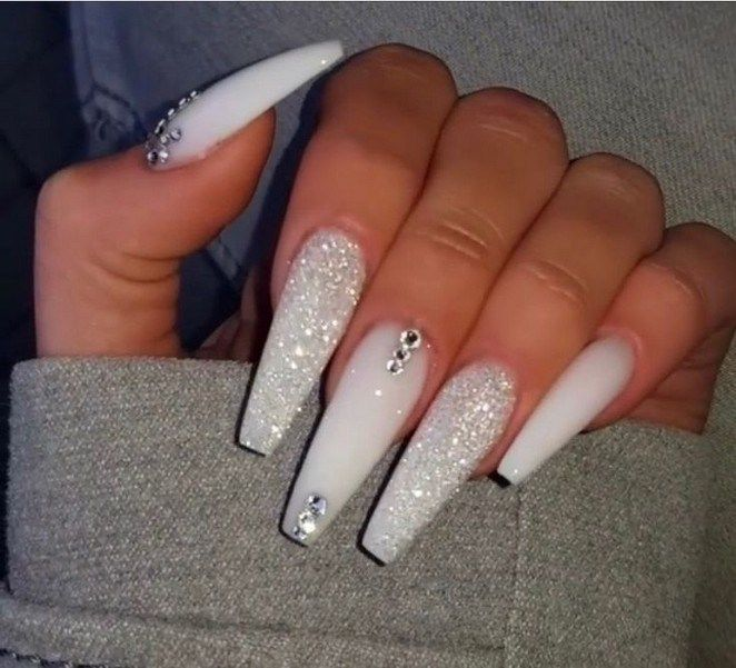 Top 55 Coffin Nails Ideas For This Summer 2019 31 Begoodhome Com White Acrylic Nails Cute Acrylic Nails Nail Designs