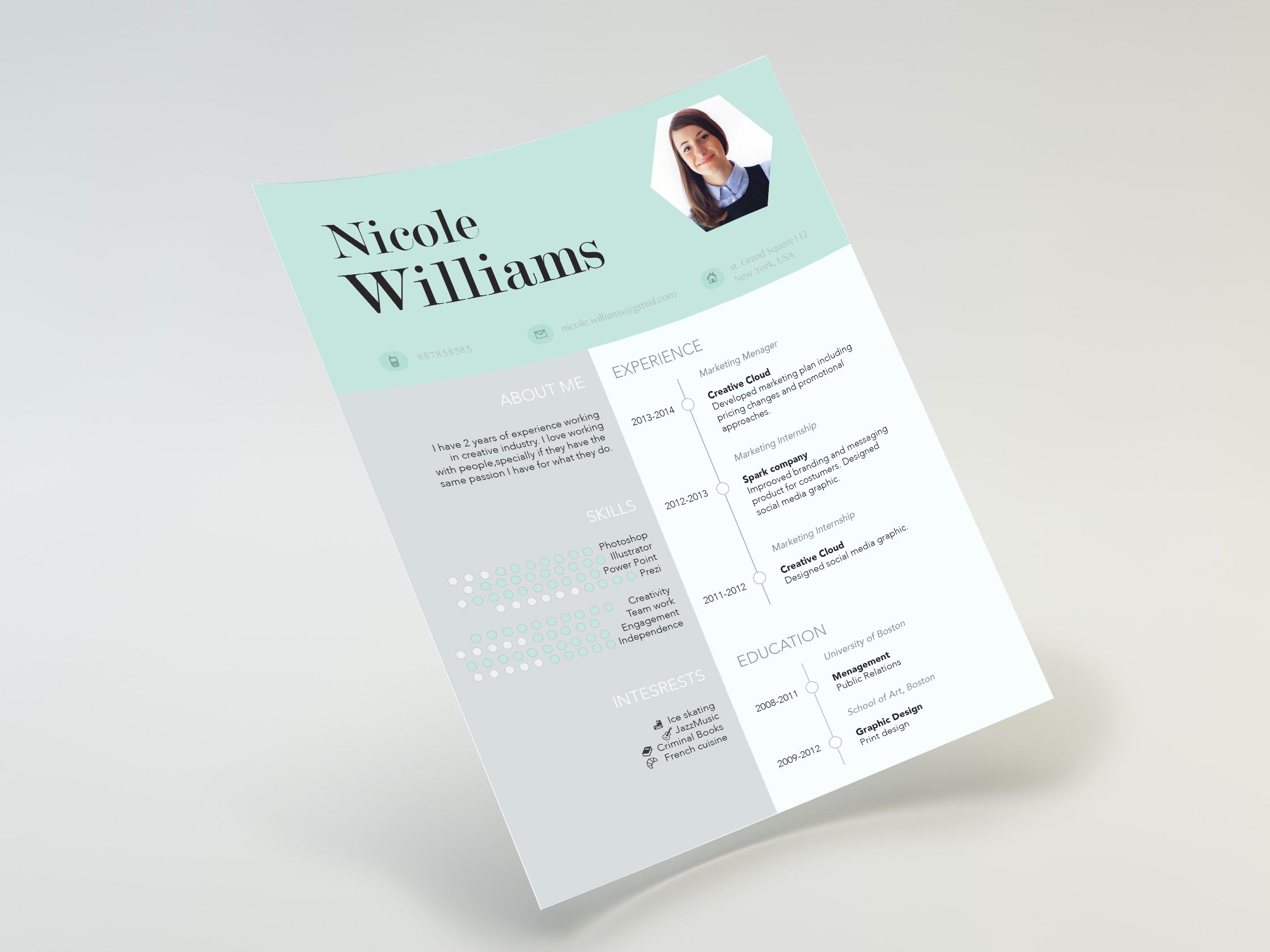 Mint resume design | Creative resume by CVdesign | Pinterest