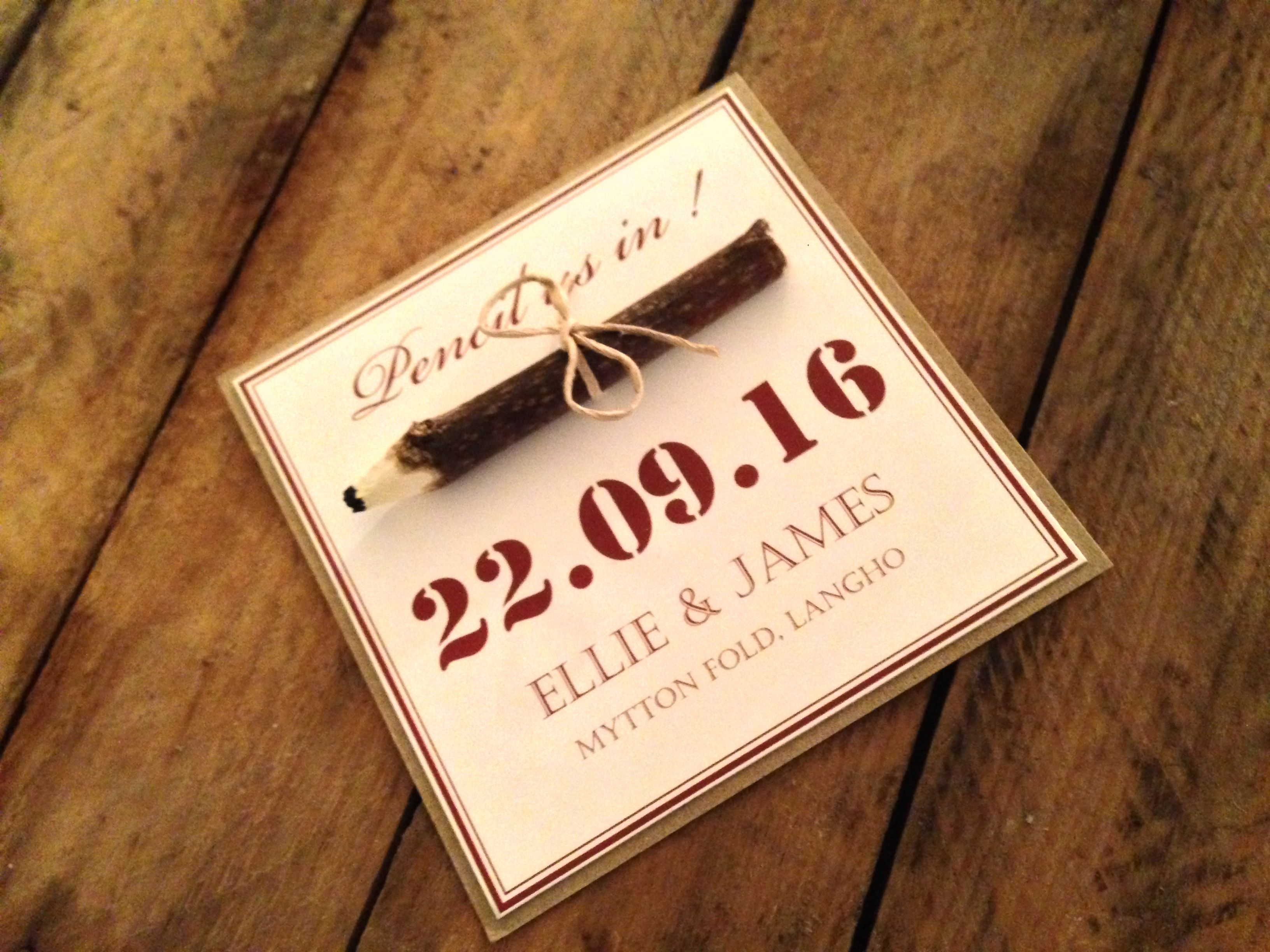 Pencil us in save the dates, with rustic hand made pencil wrapped in ...
