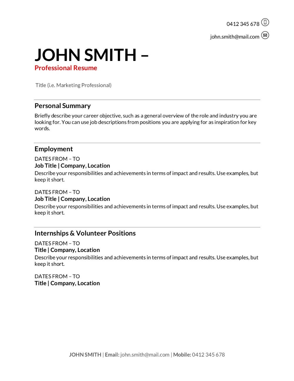 Resume Templates Samples (4) PROFESSIONAL TEMPLATES in