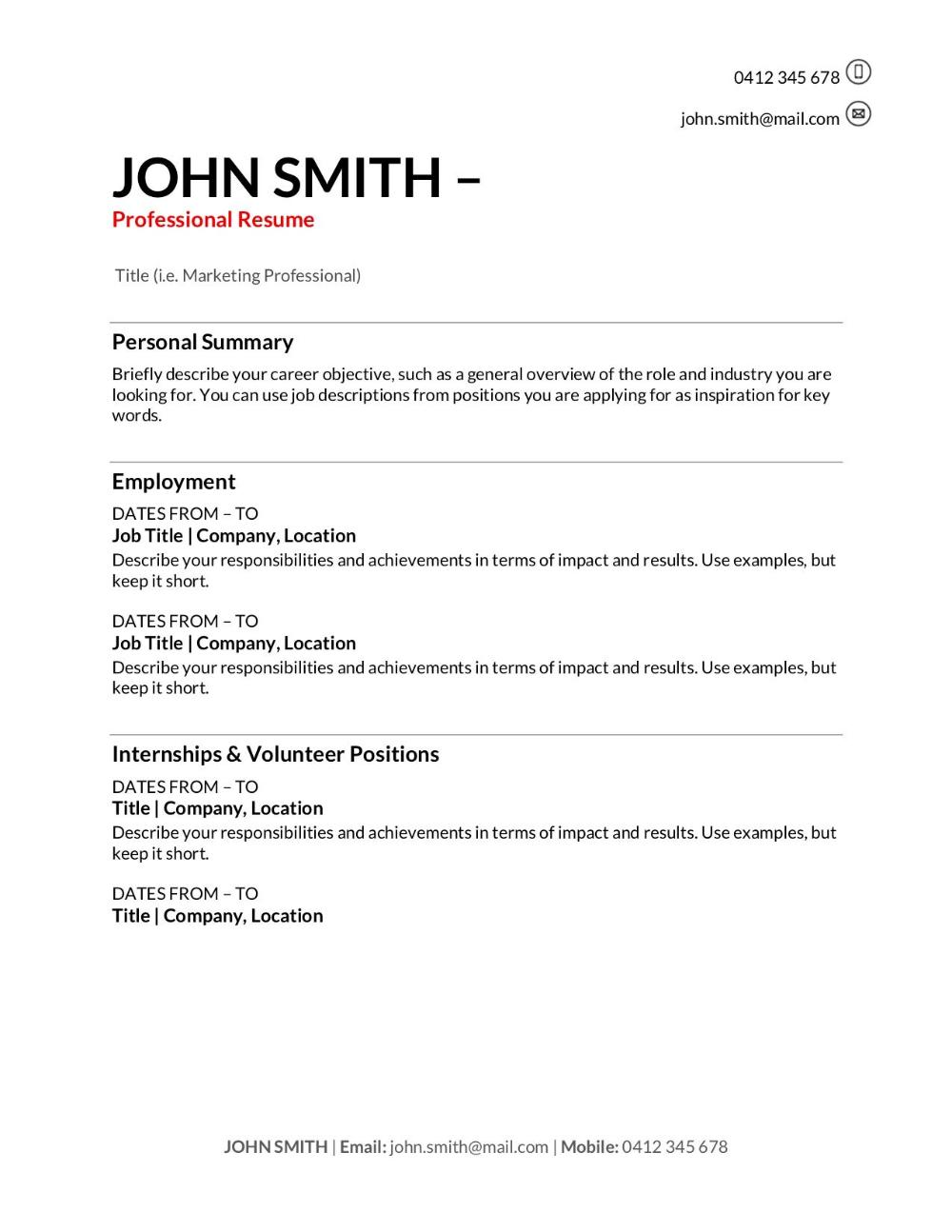 Standard Cv format In Australia in 2020 Acting resume