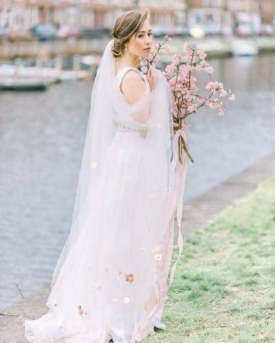 Softest Pale Blush Pink Wedding Veil With Flower Embellishment A Real Statement Veil Made In The U K Http Www S Soft Tulle Wedding Veil Bridal Bridal Shoot