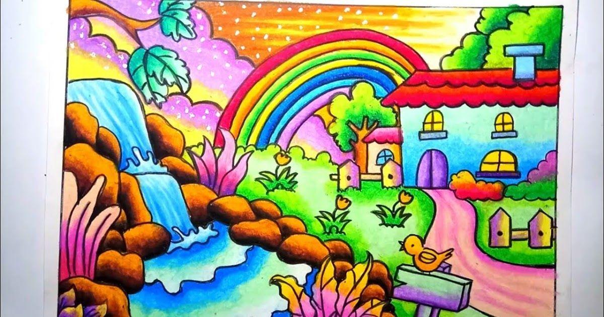 Wow 30 Gambar Pemandangan Alam Yang Diwarnai Dengan Krayon Gambar Pemandangan Sungai Den In 2020 Art Drawings For Kids Scenery Drawing For Kids Kids Drawing Projects