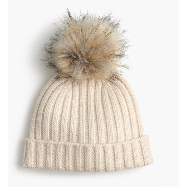 ea6e6067472 J.Crew Ribbed Beanie With Faux-Fur Pom-Pom (170 PEN) ❤ liked on Polyvore  featuring accessories