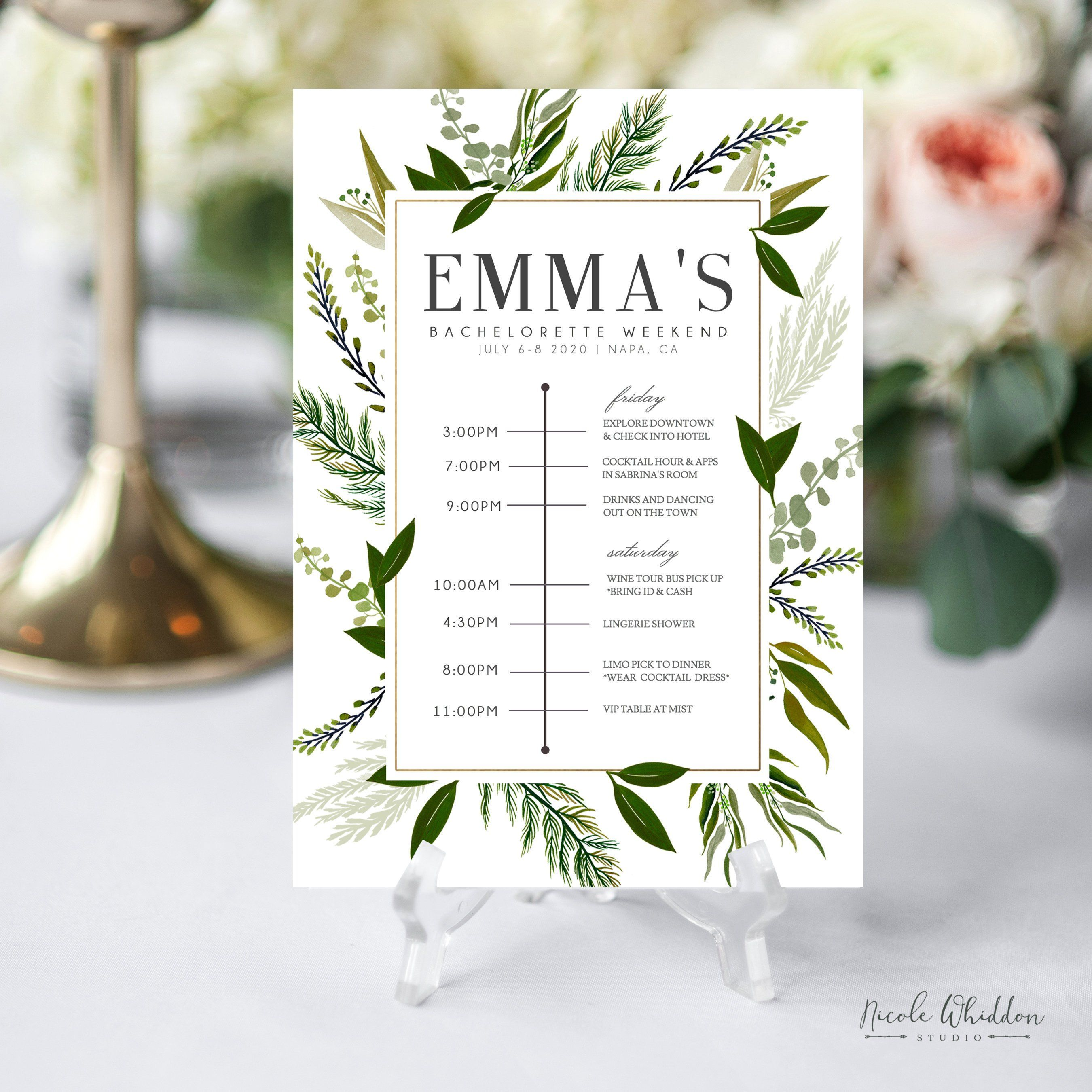 BACHELORETTE PARTY INVITATIONS Instant Download Itinerary Template Greenery Gold Hens Party PdF Editable Bridal TimelineDiY By