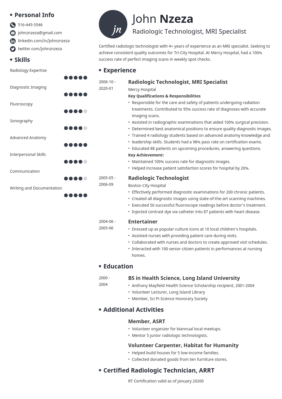 Radiologic Technologist Resume Example Template Initials Resume Examples Student Resume Job Resume Examples