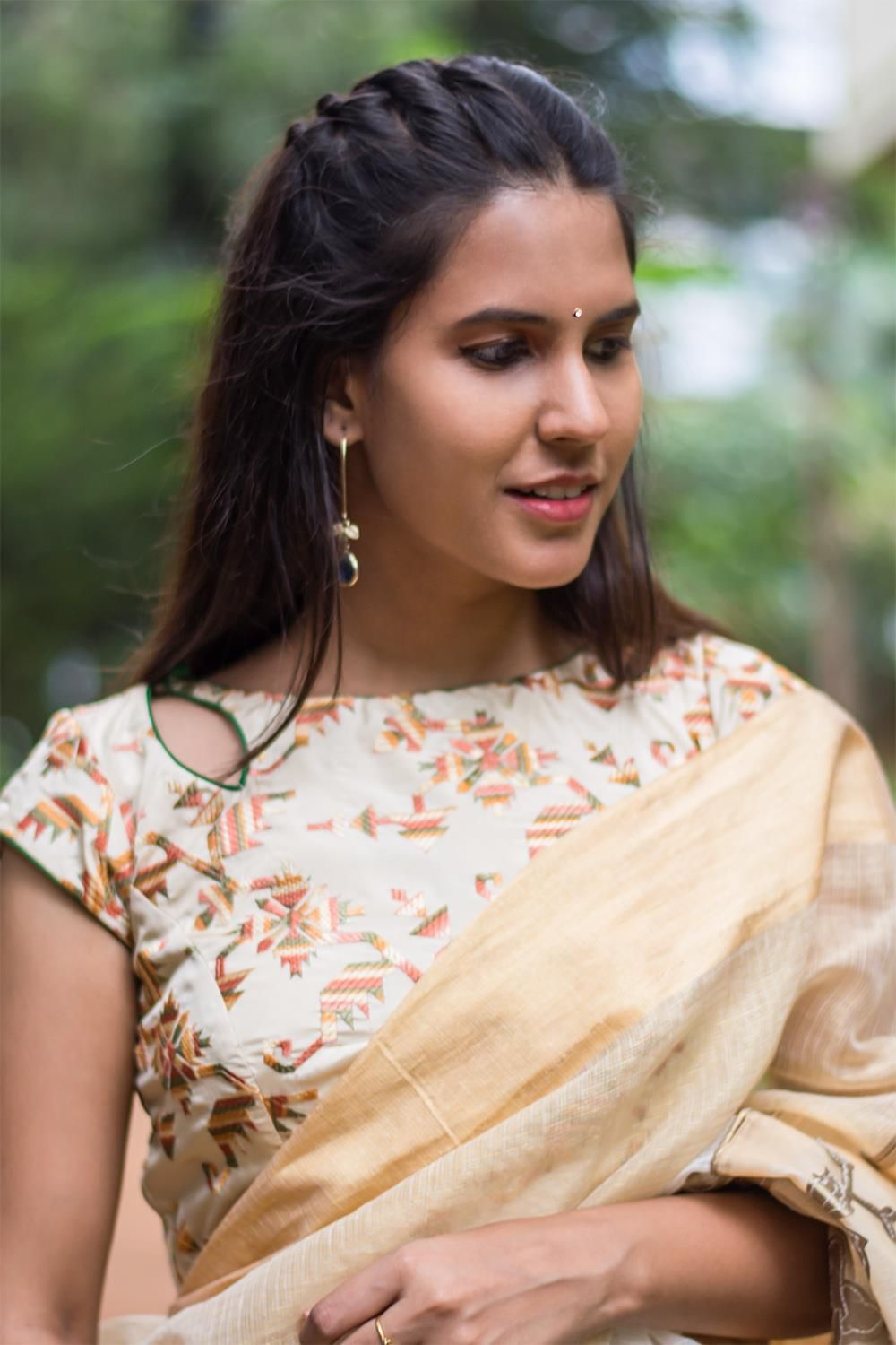 32e22ecbf336d Beige threadwork boat neck blouse with a cut out at the neck  blouse  saree