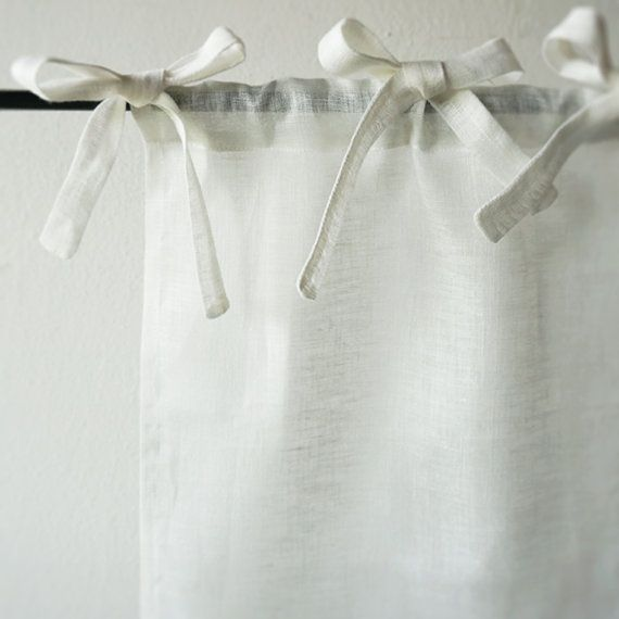 Sheer Curtains With Ties, Off White Linen Drapes, Tie Top