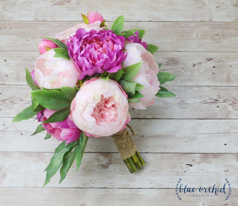 Peony Bouquet Wedding Bouquet Silk Peonies Silk Flowers Flower