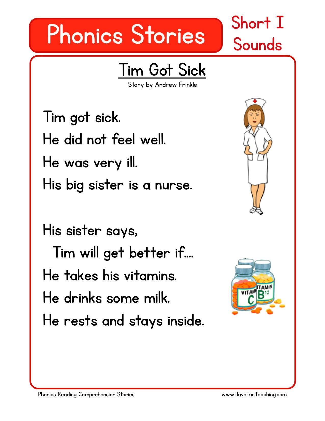 This Reading Comprehension Worksheet - Tim Got Sick is for ...
