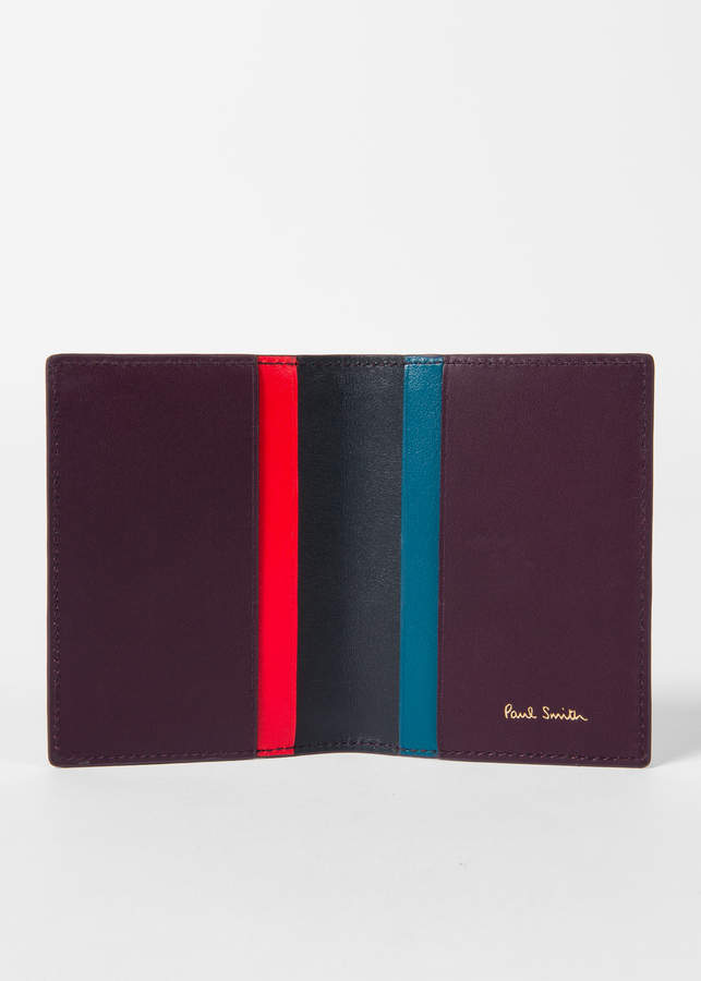 2e495ebd99c0 Paul Smith No.9 - Men's Damson Leather Credit Card Wallet With  Multi-Coloured Card Slots