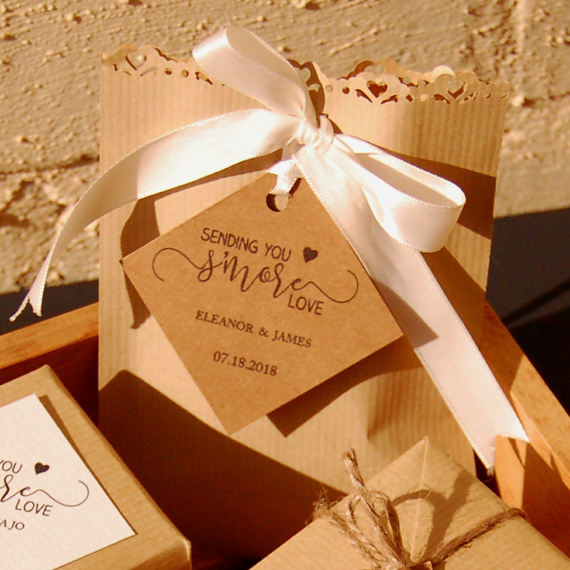 S'More Love diagonal wedding tags for guest by StationeryConcierge
