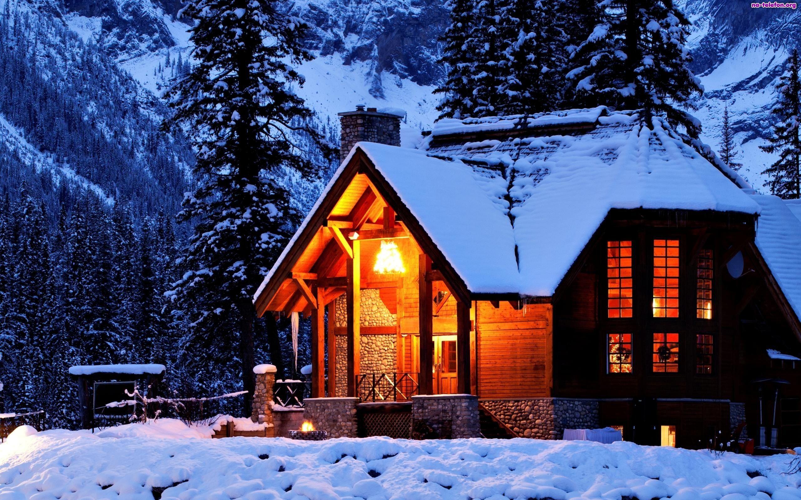 E Oswietlony Domek Zima Gory Winter House House In The Woods Resort Cabins