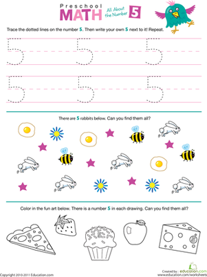 Preschool Math: All About the Number 5   Number worksheets, Math ...