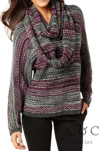 Alfani Ladies NEW Sweater Large Purple Gray Removable Scarf Dolman ...