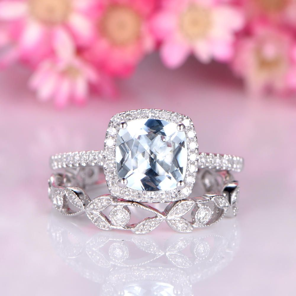Aquamarine engagement ring set 7mm cushion cut natural blue ...