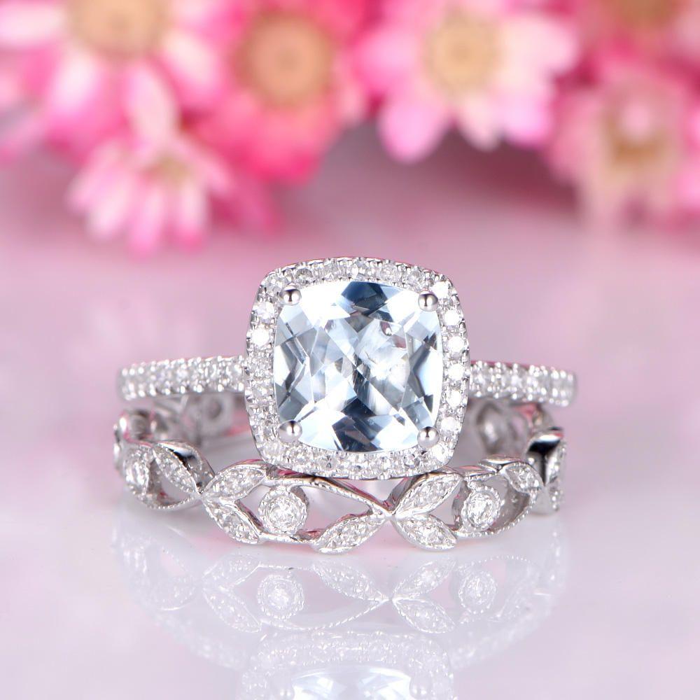 Aquamarine engagement ring set 7mm cushion cut natural blue ...
