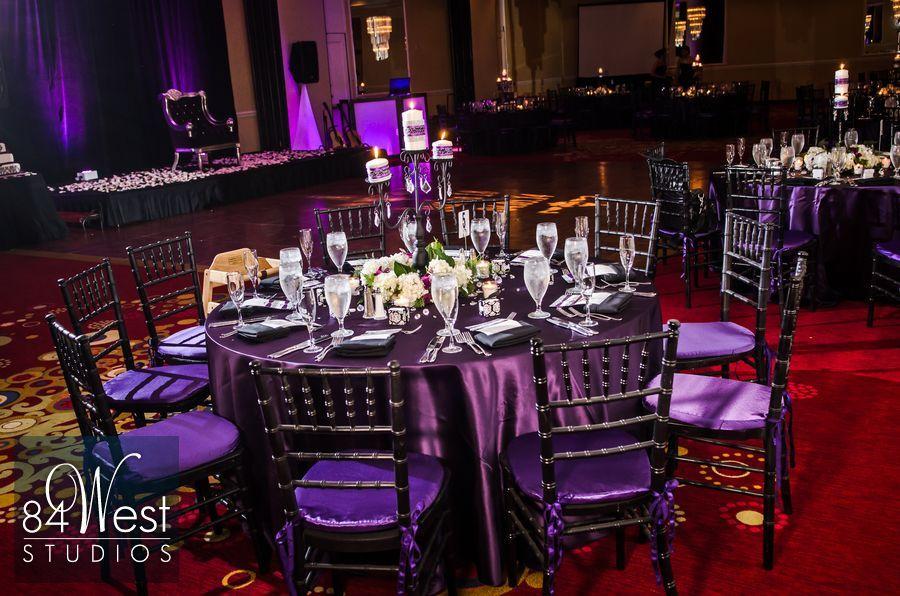 Sweet 16 or 18th Birthday party purple linens and black chiavari