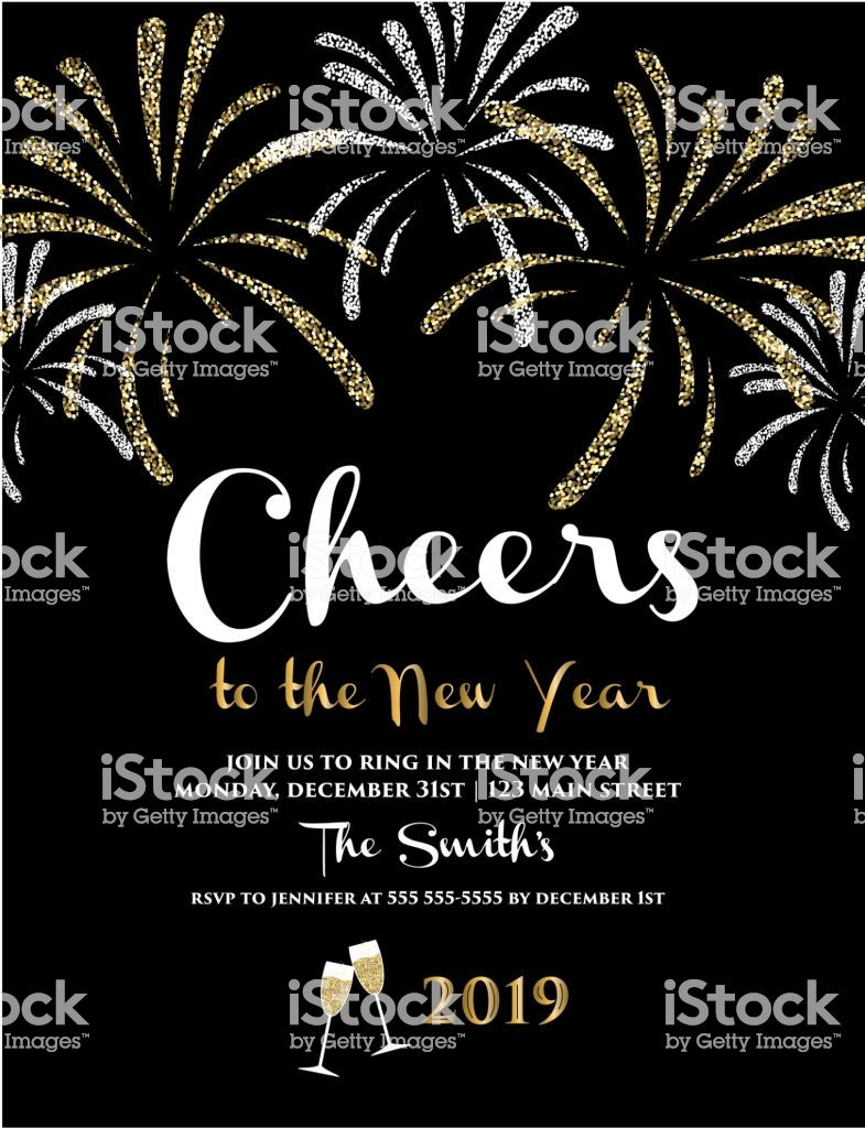 New Years 2019 Greeting Card Design Banner With Text Royalty Free