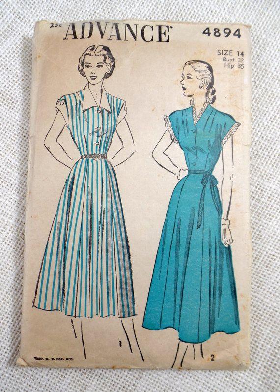 Advance 4894 Vintage pattern 1940s dress pattern house dress contrast collar cuffs shirtwaist new look Bust 32 1948 post war  cap sleeve